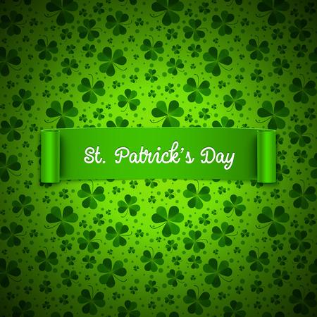 feast of saint patrick: Saint Patricks Day card, ribbon on shamrock leaves pattern