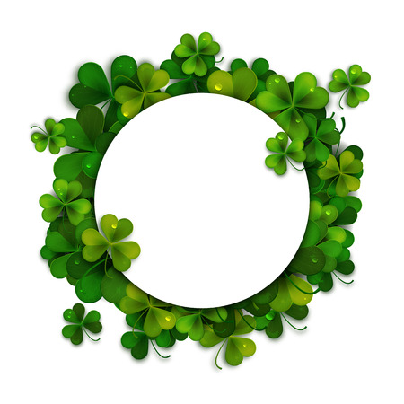 feast of saint patrick: Saint Patricks Day vector background, frame with realistic shamrock leaves