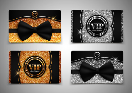 membership: Gold and silver VIP cards with glitter, gift, voucher, certificate, vector illustration Illustration