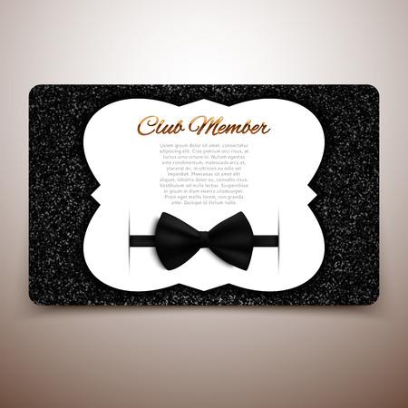 black bow: Club member vector card template, gentlemen club, vip card, black bow