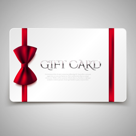 Gift cards with red bow and golden text. Vector illustration. Voucher, certificate