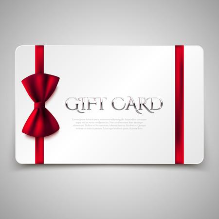lazo regalo: Las tarjetas de regalo con lazo rojo y el texto de oro. Ilustración del vector. Vale, certificado Vectores