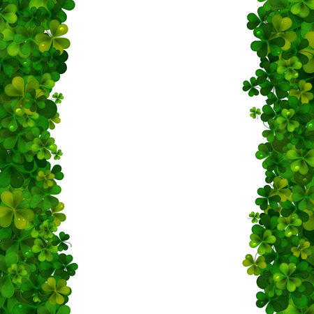 feast of saint patrick: Saint Patricks Day vector background, realistic shamrock leaves