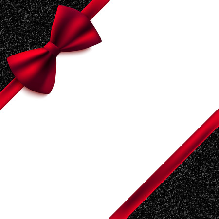 love card: Invitation decorative card template with red bow and shiny glitter