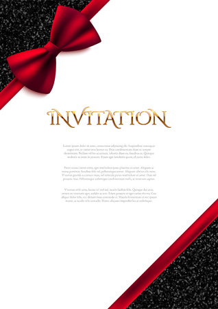 glamour shopping: Invitation decorative card template with red bow and shiny glitter