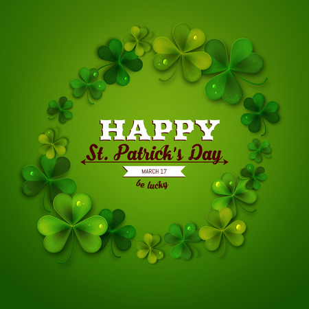 feast of saint patrick: Saint Patricks Day vector background, frame with realistic shamrock leaves, greeting card Illustration