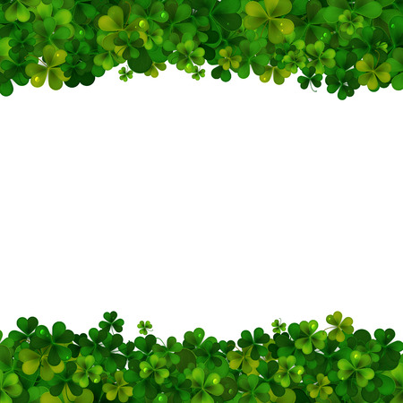 feast of saint patrick: Saint Patricks Day vector background, realistic shamrock leaves