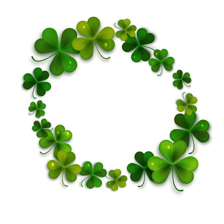 Saint Patricks Day vector background, frame with realistic shamrock leaves, greeting card Ilustração