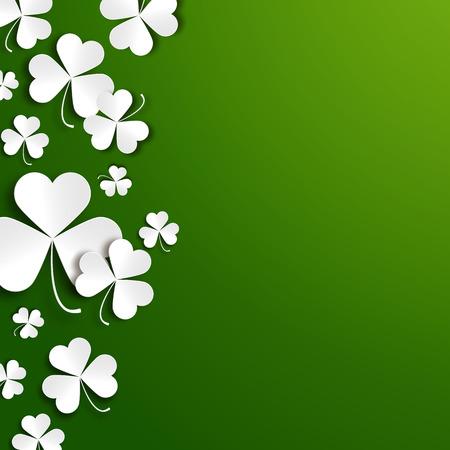 feast of saint patrick: Saint Patricks day greeting vector card, realistic paper shamrock leaves