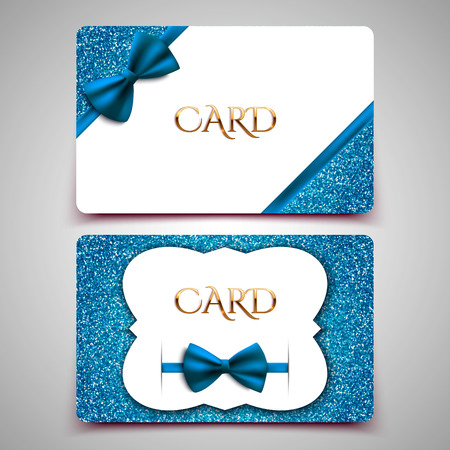 Gift cards vector card template, club member card, blue bow and glitter Vector