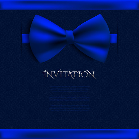 blue bow: Invitation decorative card template with blue bow Illustration