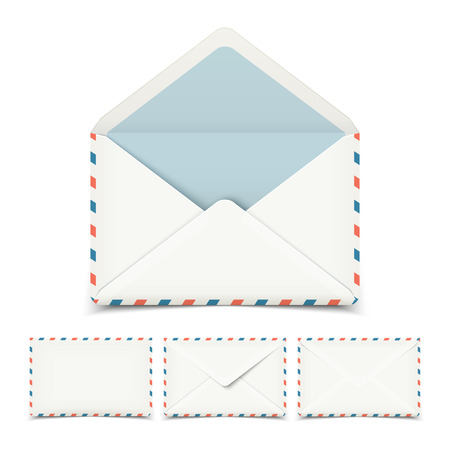 white letters: Set of four blank white vector envelopes isolated on white Illustration