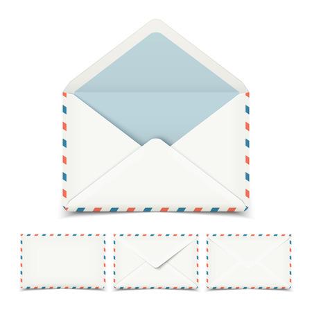 Set of four blank white vector envelopes isolated on white Illustration