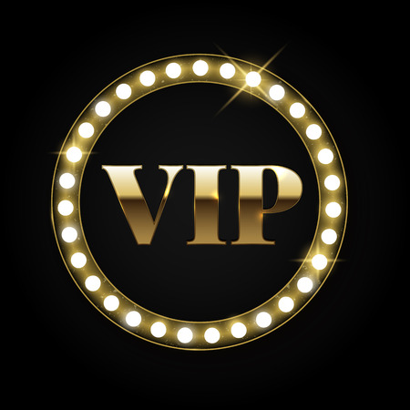 vip symbol: Golden retro vip banner with lights