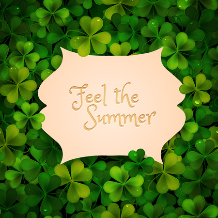feast of saint patrick: Summer vector illustration realistic leaves background