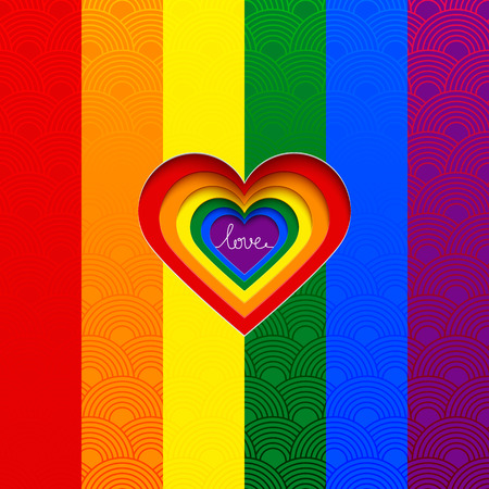 sex discrimination: Rainbow vector heart celebrate the equality of love