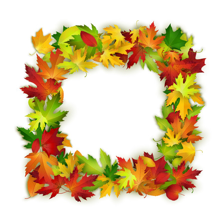 decorative object: Vector frame with colorful autumn leaves, natural design, background, backdrop template Illustration