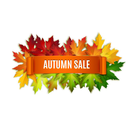 green banner: Autumn sale vector banner, label, ribbon, colorful leaves background