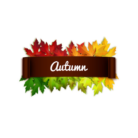 written text: Autumn vector card, text on realistic ribbon, colorful autumn leaves background