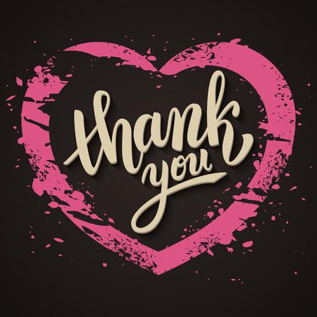 handwritten: Thank you handwritten vector illustration, brush pen lettering, pink heart