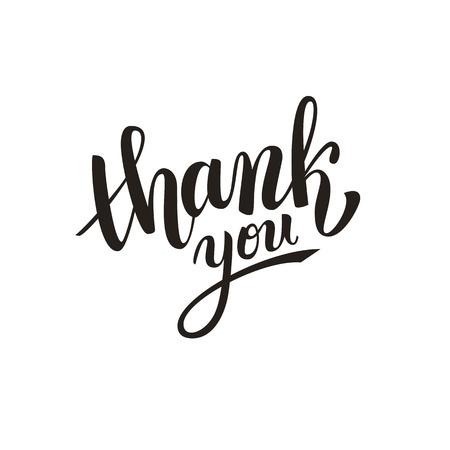 Thank you handwritten vector illustration, dark brush pen lettering isolated on white background Vettoriali