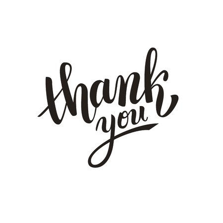 hand with card: Thank you handwritten vector illustration, dark brush pen lettering isolated on white background Illustration