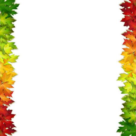 bordes decorativos: Vector de fondo decorado con hojas de colores de otoño, tarjeta, bandera