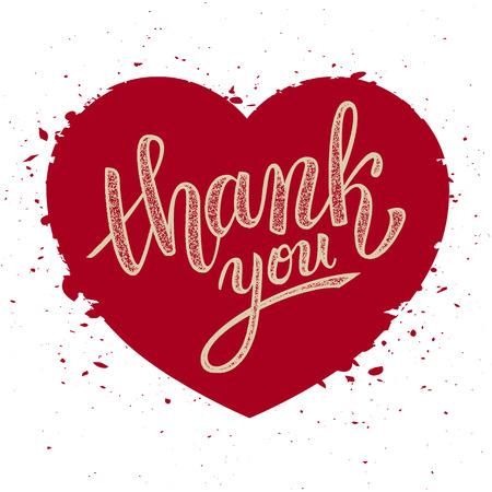 handwritten: Thank you handwritten vector illustration, brush pen lettering on red heart background