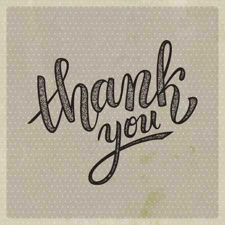 handwritten: Thank you handwritten vector illustration, brush pen lettering on vintage old background Illustration