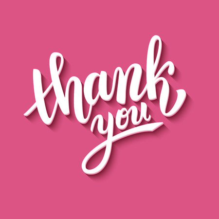 greetings card: Thank you handwritten vector illustration, brush pen lettering on pink background