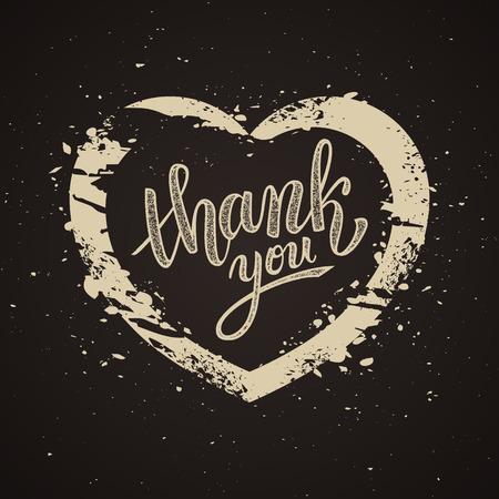 handwritten: Thank you handwritten vector illustration, brush pen lettering on dark background, heart