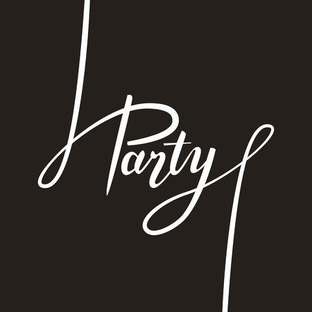 handwritten: Party handwritten text lettering. Vector illustration