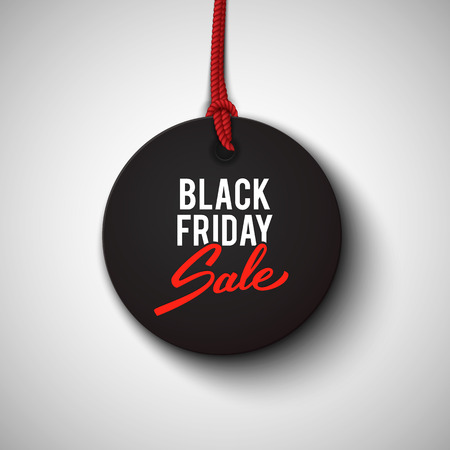 prices: Black Friday sale black tag, round banner, advertising, vector illustration