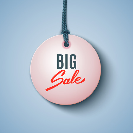 Big sale black tag, round banner, advertising, vector illustration Ilustração
