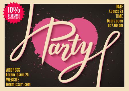 handwritten: Invitation to party, banner, flyer, ticket, poster design with handwritten text. Vector illustration