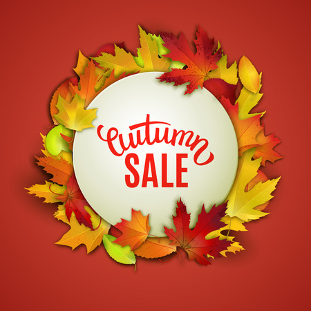 autumn colors: Autumn sale, price tag label, advertising vector illustration with colorful autumn leaves