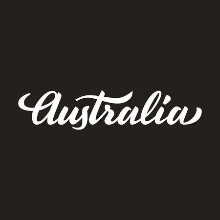 handwritten: Australia handwritten text, brush pen lettering, t-shit, poster, logo design, vector illustration Illustration