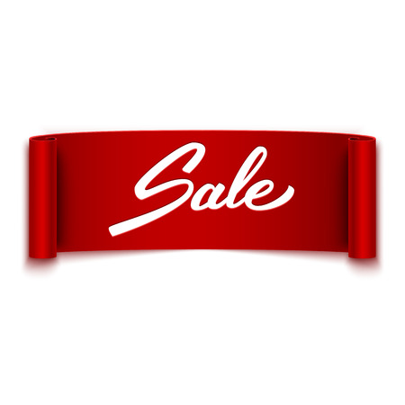 Sale text on red ribbon, banner, advertising, vector illustration