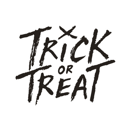 handwritten: Trick or treat handwritten text isolated on white background, Halloween vector illustration