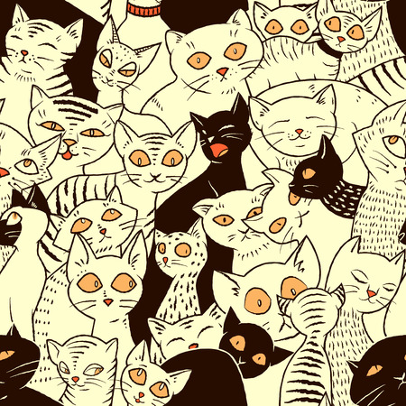 hand illustration: Seamless vector pattern with cute cats. For wallpapers, pattern fills, web page backgrounds Illustration