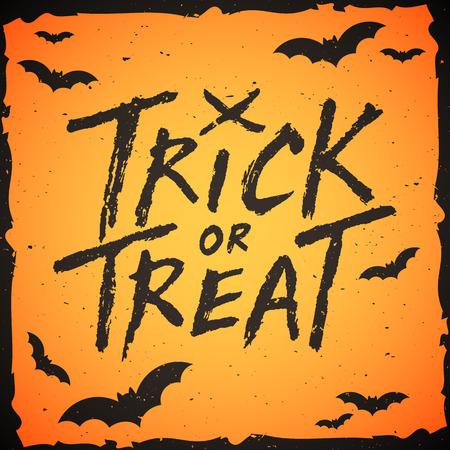 handwritten: Trick or treat handwritten text, Halloween vector illustration