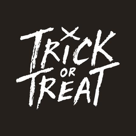 handwritten: Trick or treat handwritten text on dark background, Halloween vector illustration