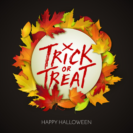 handwritten: Halloween card, trick or treat handwritten text on white banner with autumn leaves. Vector illustration