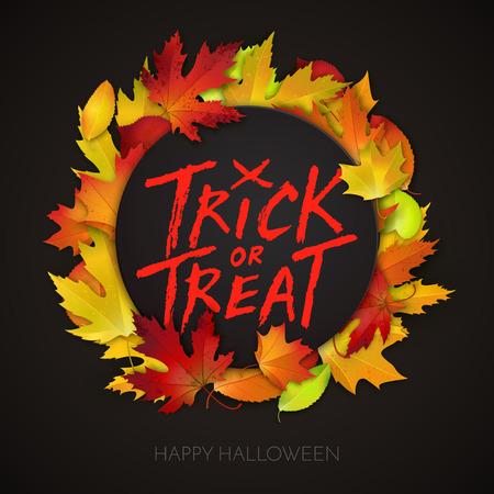 handwritten: Halloween card, trick or treat handwritten text on black banner with autumn leaves. Vector illustration