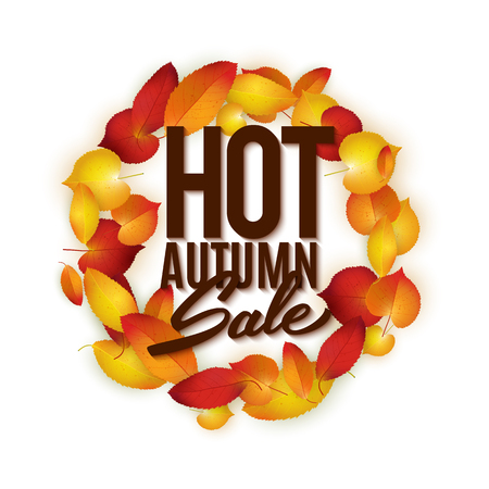 foster: Hot autumn sale advertisement banner, poster, retail, discount, vector illustration