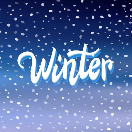 handwritten: Winter handwritten text on snow background, greeting card, banner, vector illustration