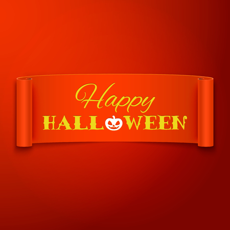 postcard background: Happy Halloween text on realistic orange ribbon, vector illustration