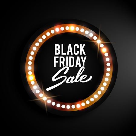 sale sign: Black Friday advertising banner, retro shiny label, vector illustration
