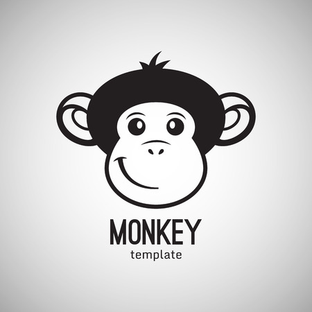 year greetings: Funny monkey face, New Year 2016, vector illustration icon design
