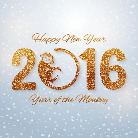 nowy rok: Śliczne Nowy rok pocztówka z złotym tekście rok małpa, rok 2016, ilustracji wektorowych Ilustracja